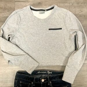 ATHLETA Sentry Grey Cropped Sweatshirt Large